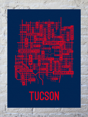Tucson, Arizona Street Map Canvas