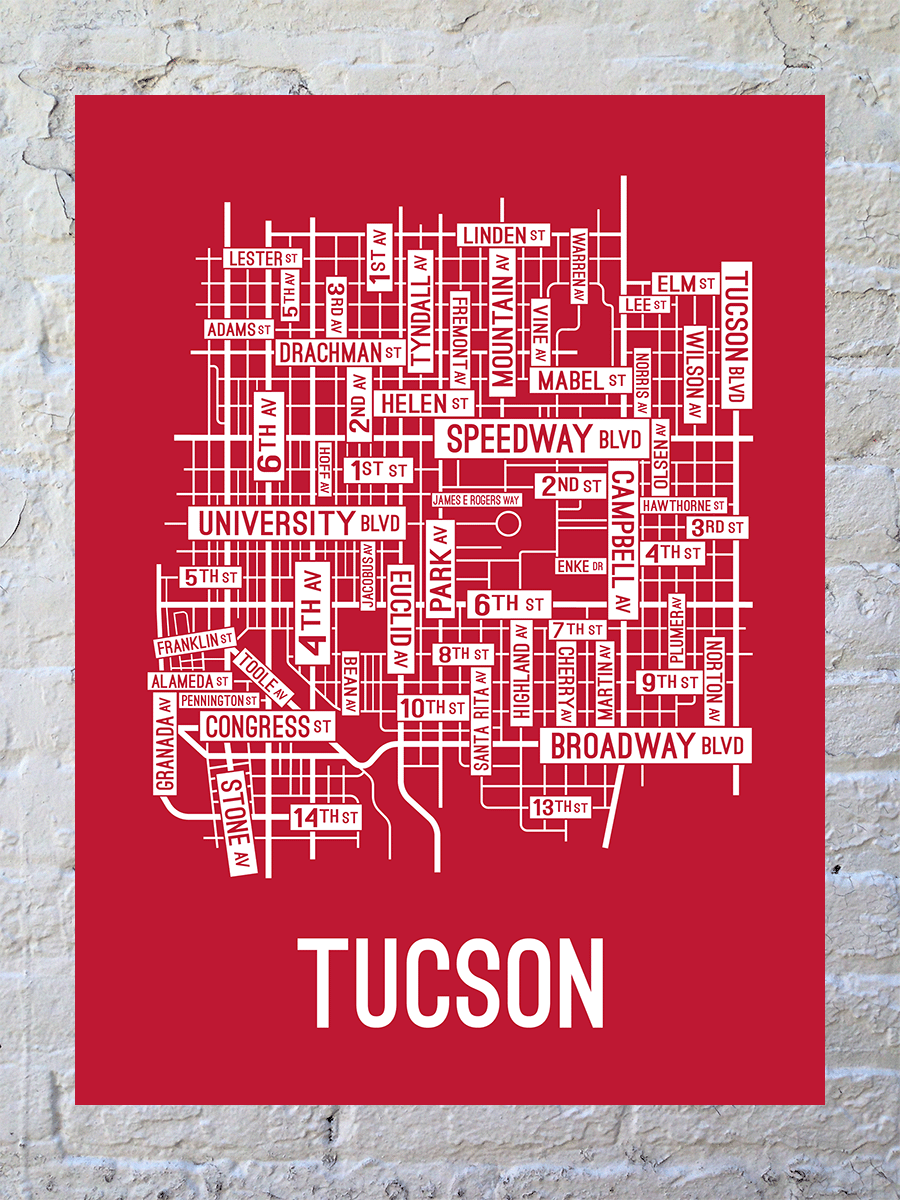 Tucson, Arizona Street Map Large Poster