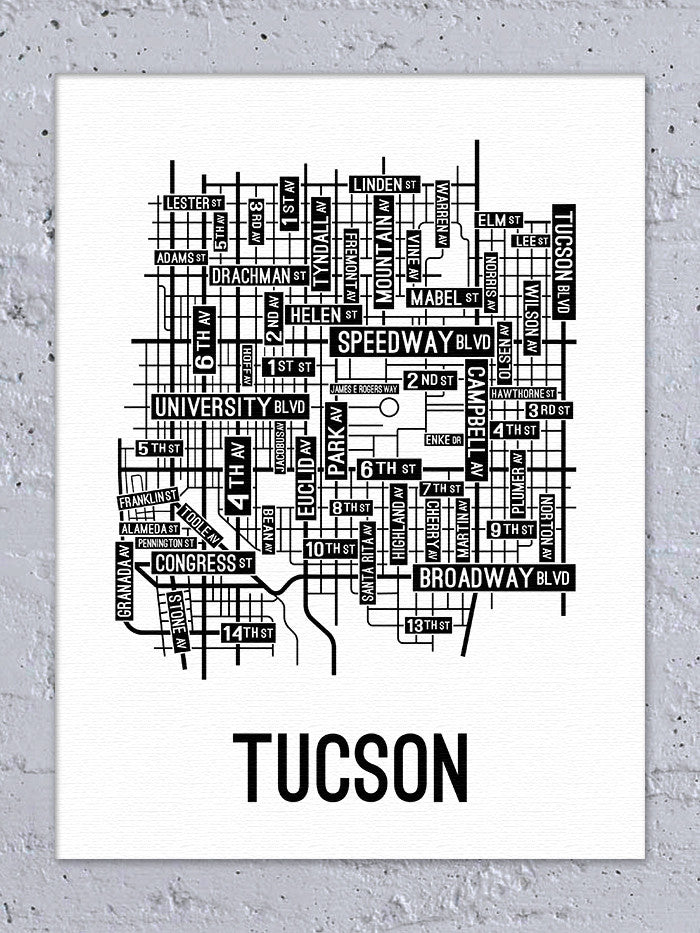 Tucson, Arizona Street Map Canvas - School Street Posters