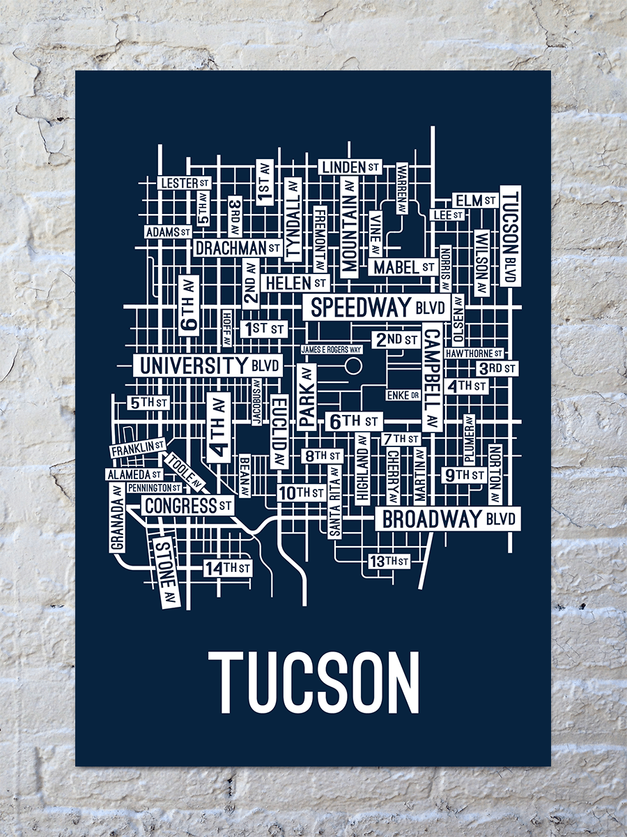 Tucson, Arizona Street Map Print