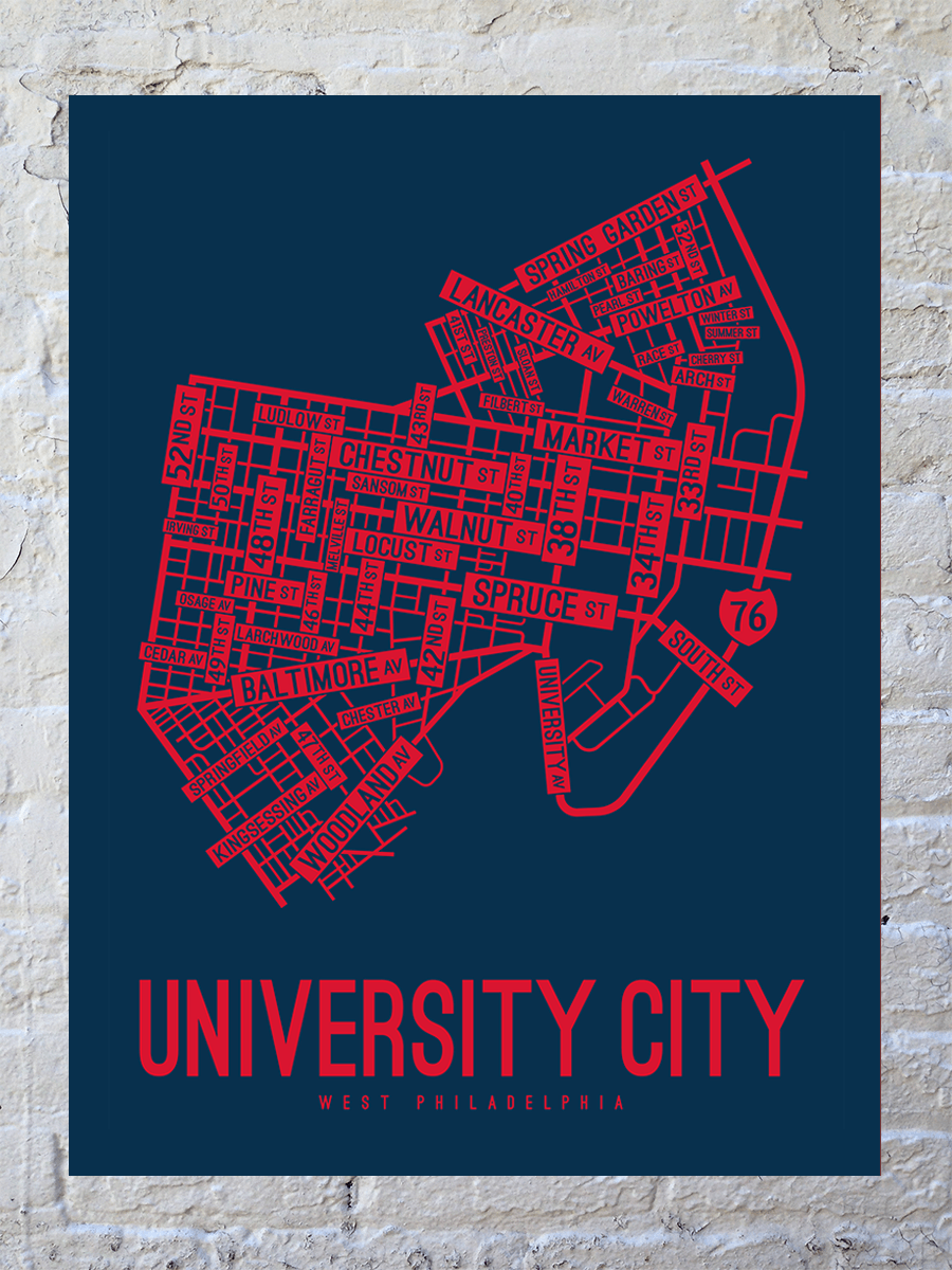 University City, Philadelphia Street Map Large Poster