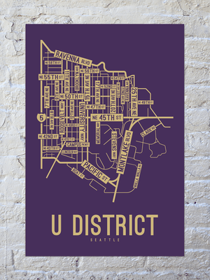 U District, Seattle, Washington Street Map Print