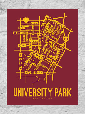 University Park, Los Angeles Street Map Large Poster