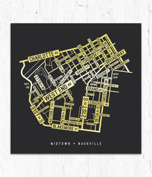 Midtown, Nashville Street Map Print