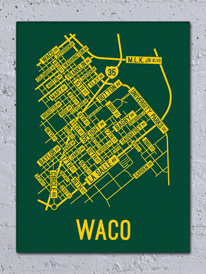 Waco Texas Street Map Screen Print School Street Posters