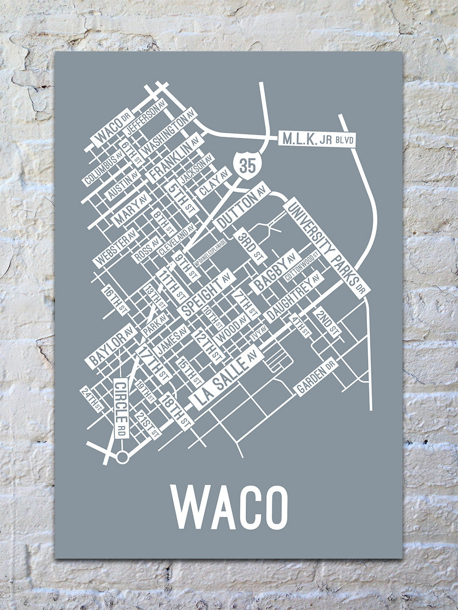 Waco, Texas Street Map Print