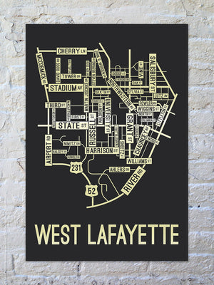 West Lafayette, Indiana Street Map Print