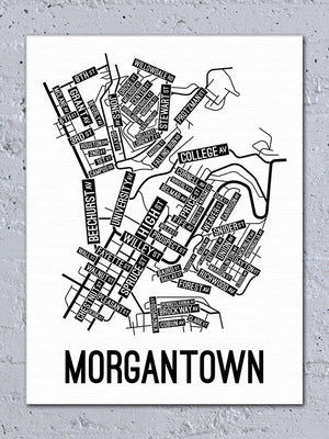 Morgantown, West Virginia Street Map Canvas