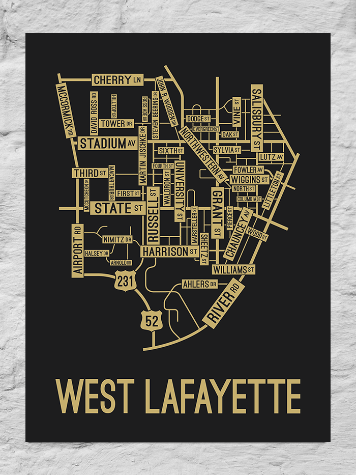West Lafayette, Indiana Street Map Large Poster
