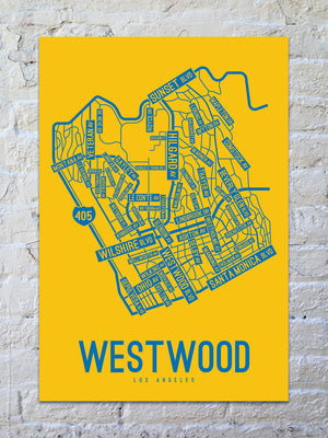 Westwood, Los Angeles Street Map Screen Print