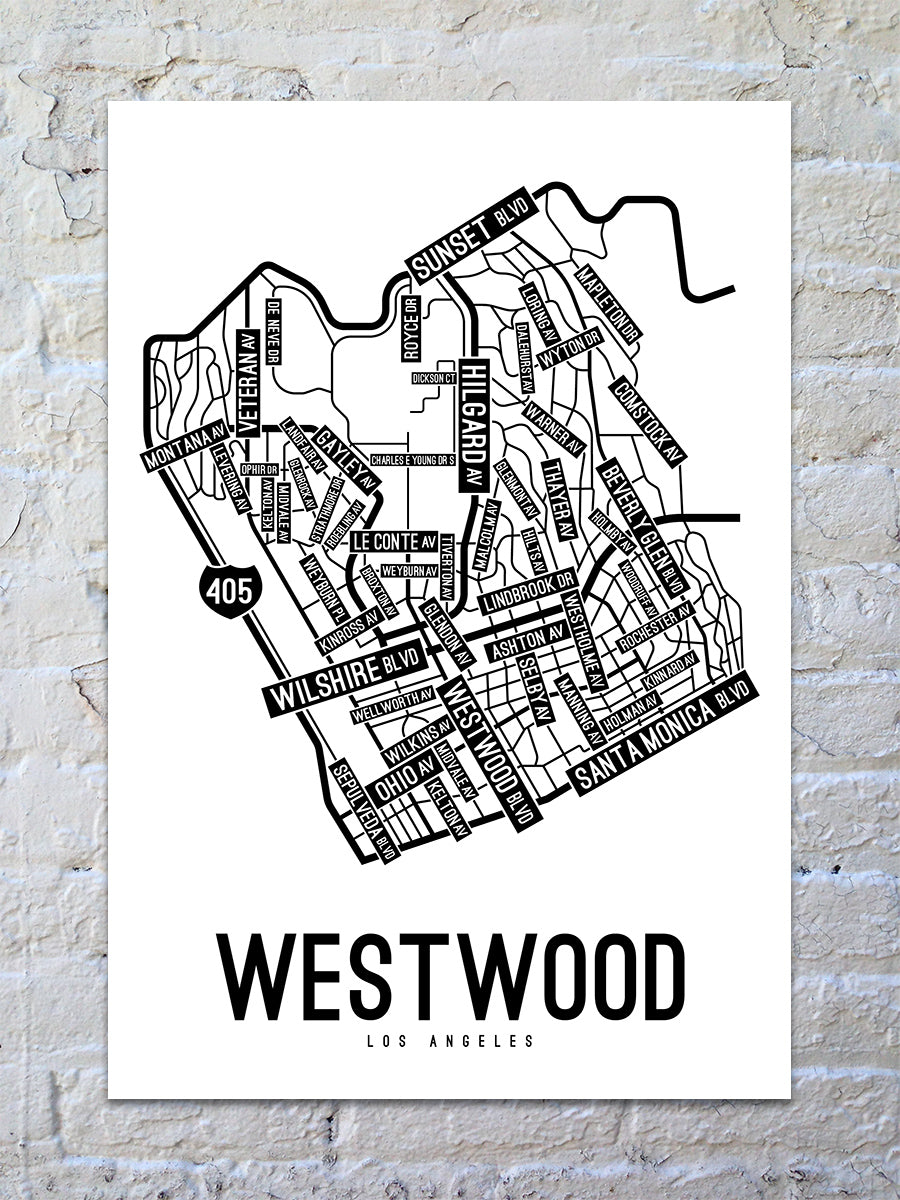 Westwood, Los Angeles Street Map Large Poster