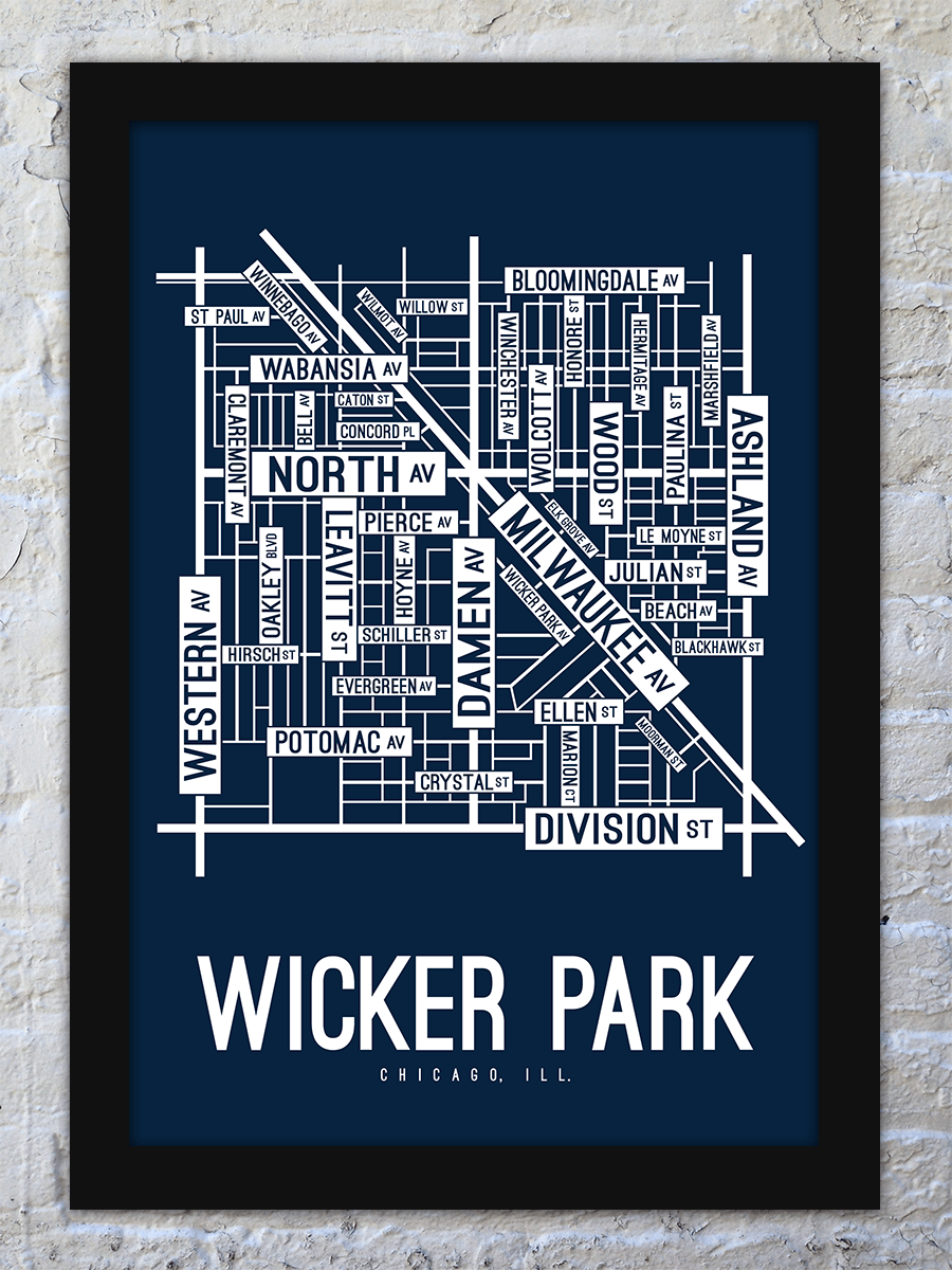 Wicker Park, Chicago Street Map Screen Print