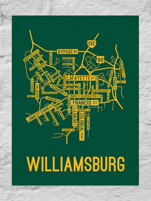 Williamsburg, Virginia Street Map Canvas