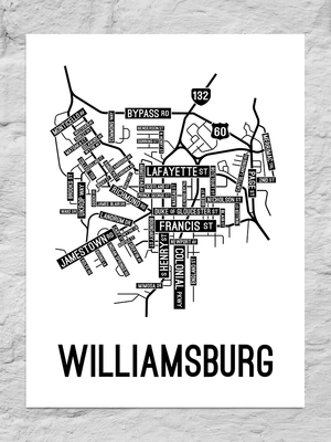 Williamsburg, Virginia Street Map Large Poster
