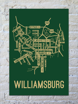 Williamsburg, Virginia Street Map Print