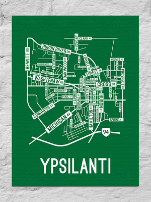 Ypsilanti, Michigan Street Map Canvas