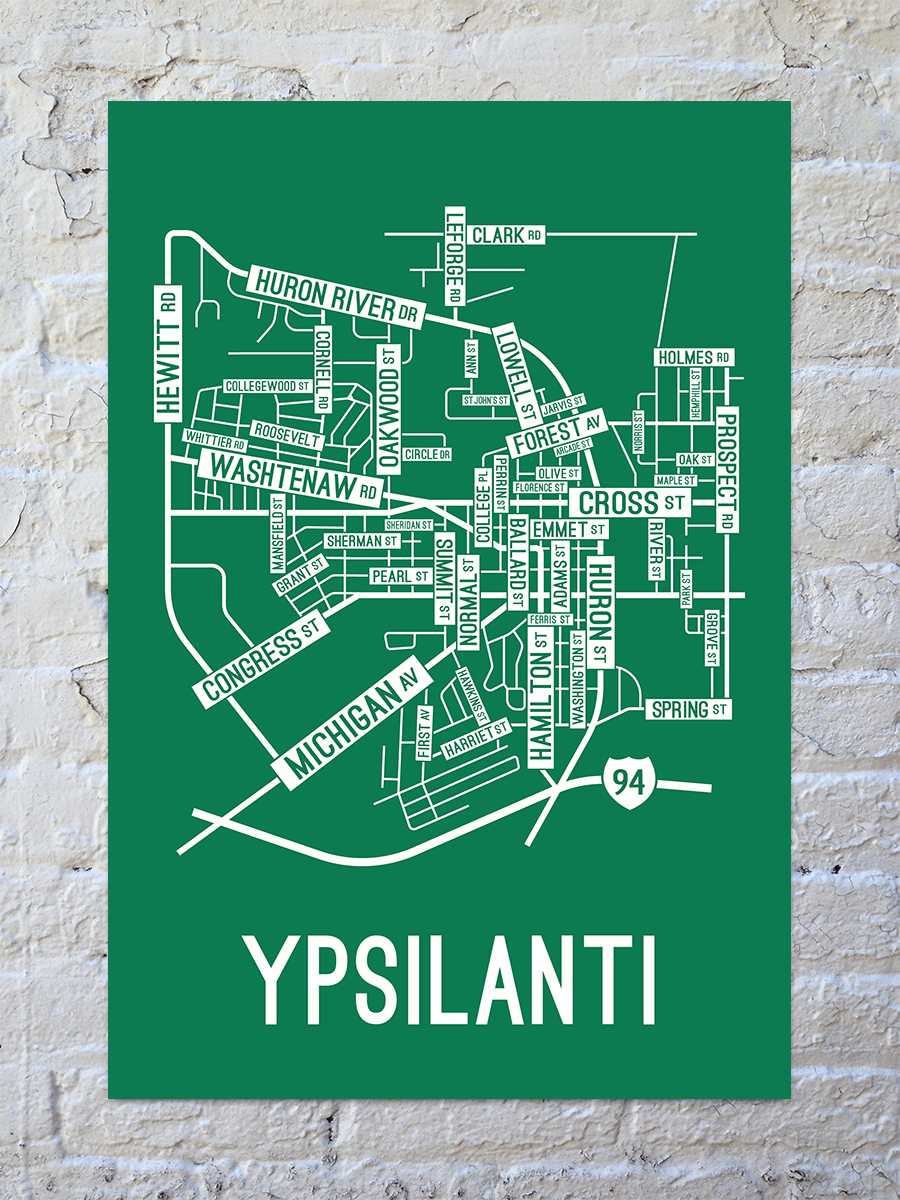 Ypsilanti, Michigan Street Map Print
