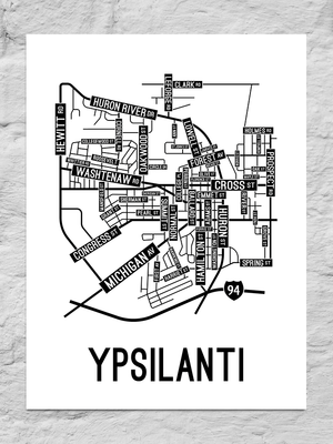 Ypsilanti, Michigan Street Map Large Poster