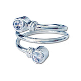 Curly CZ Ring - White