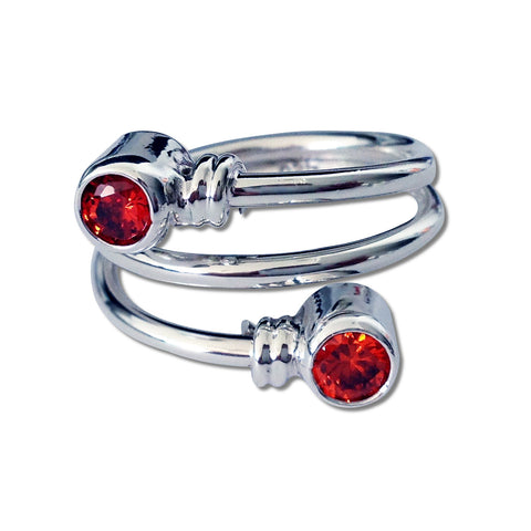 Curly CZ Ring - Red