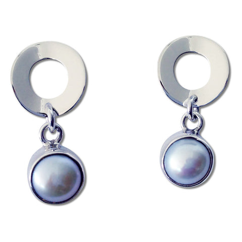 Pearl Disk Earrings