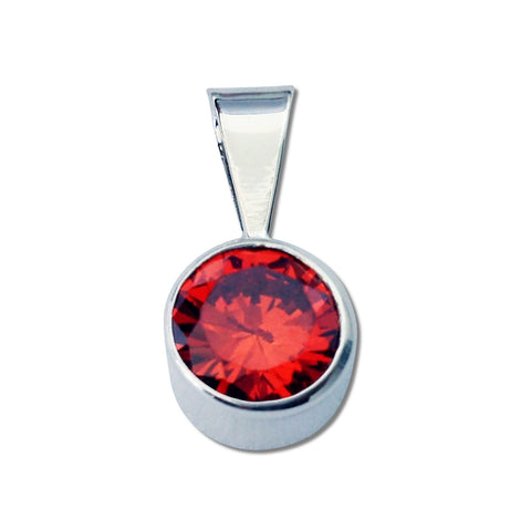 Round CZ Pendant - Medium - 5 Colors Available