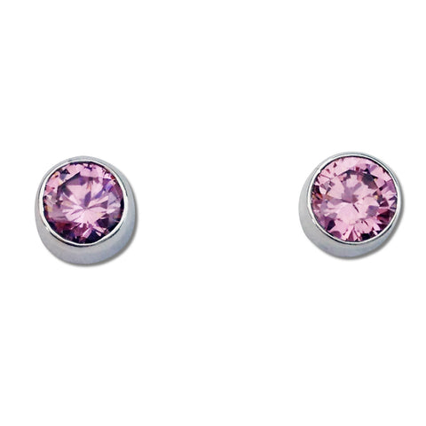 Round CZ Earrings - Pink