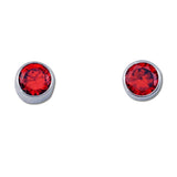 Round CZ Earrings - 6 Colors Available