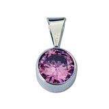 Round CZ Pendant - Large - 6 Colors Available