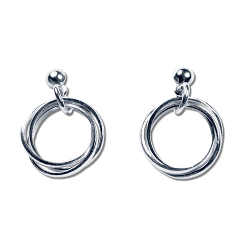 3 Rings Silver Earrings