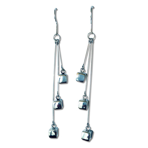 Triple Cube Pendulum Earrings