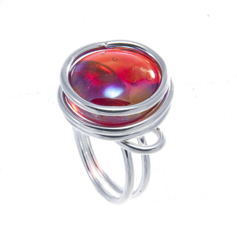 Infinity Glass Ring - Red Crystal