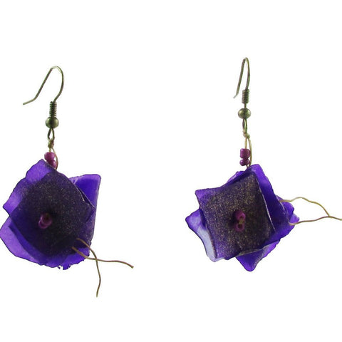 Fish Scales Earrings -Purple