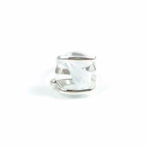Parallel Glass Ring - White Stripe