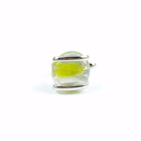 Parallel Glass Ring - Yellow Stripe