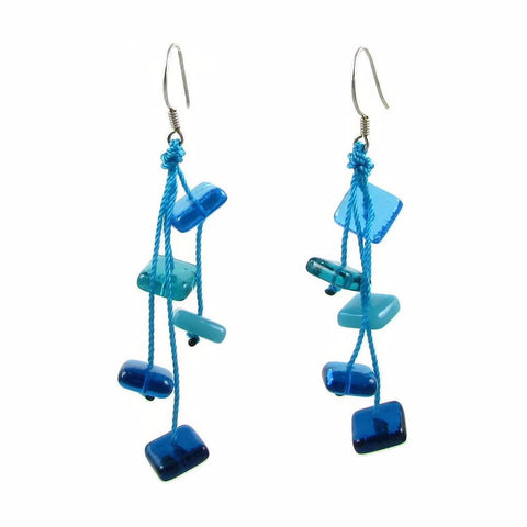 Zen Glass Earrings - Aqua