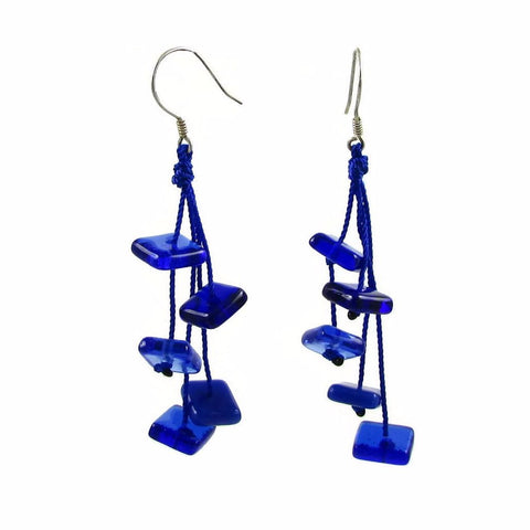 Zen Glass Earrings - Navy