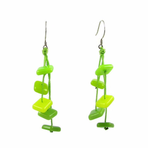 Zen Glass Earrings - Lime Green