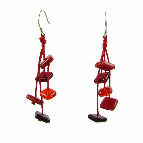 Zen Glass Earrings - Red