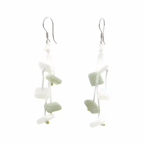 Zen Glass Earrings - White