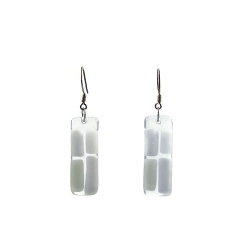 Cobblestones Glass Earrings - White
