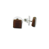 Glass Square Studs - Brown