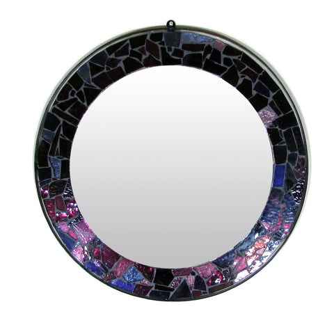 Purple Mosaic Round Mirror