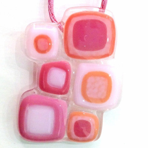 Abstract Squares Pendant - Pink