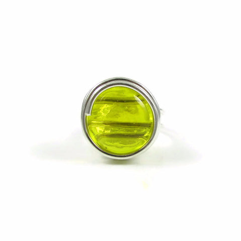Infinity Glass Ring - Yellow Crystal