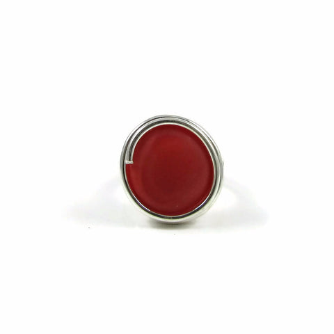 Infinity Glass Ring - Coral Matte