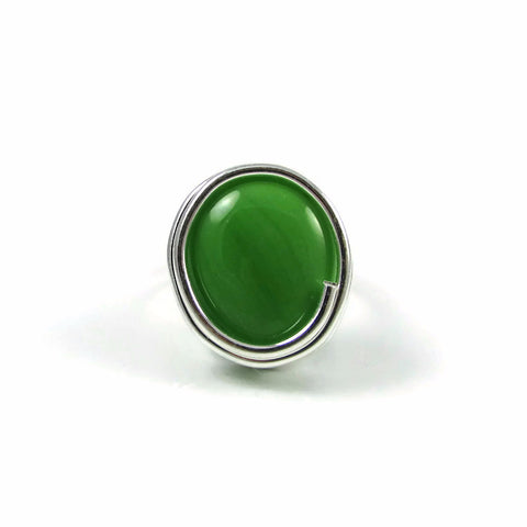 Infinity Glass Ring - Green