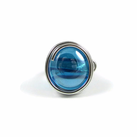 Infinity Glass Ring - Turquoise Crystal Iridescent