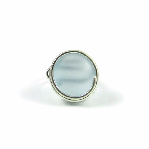 Infinity Glass Ring - Sky Blue Matte