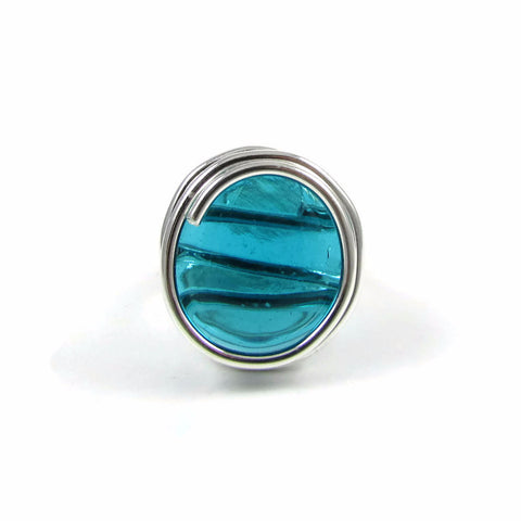 Infinity Glass Ring - Aqua
